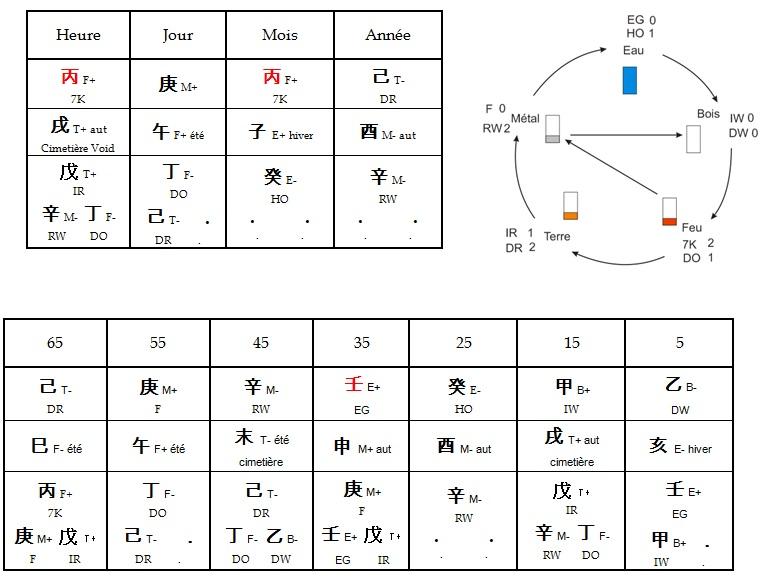 Thème Ba Zi astrologie chinoise / Feng Shui